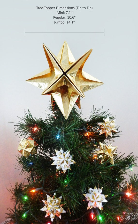 PAPYRUS Origami Christmas Tree Topper Gold Star Classic