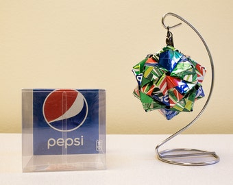 Mountain Dew & Pepsi Origami Ornaments.  Upcycled Recycled Repurposed Can Art