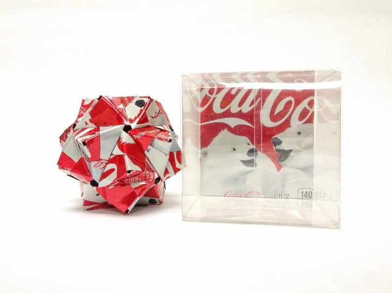 Coca Cola Origami Christmas Ornament Christmas Coke Polar Bears Upcycled Recycled Repurposed Cyber Monday Cyber Week Xmas