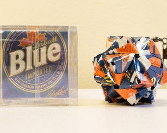Labatt Blue Basketball Can Origami Ornament.  Upcycled Recycled Repurposed Art