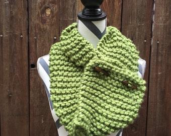 Dual Wear Green Hand Knit Scarf