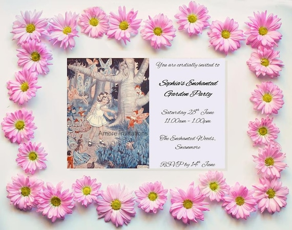 Digital Printable Vintage Fairy Birthday Party Invitation Print Your Own Wedding Invite Instant Download Microsoft Word