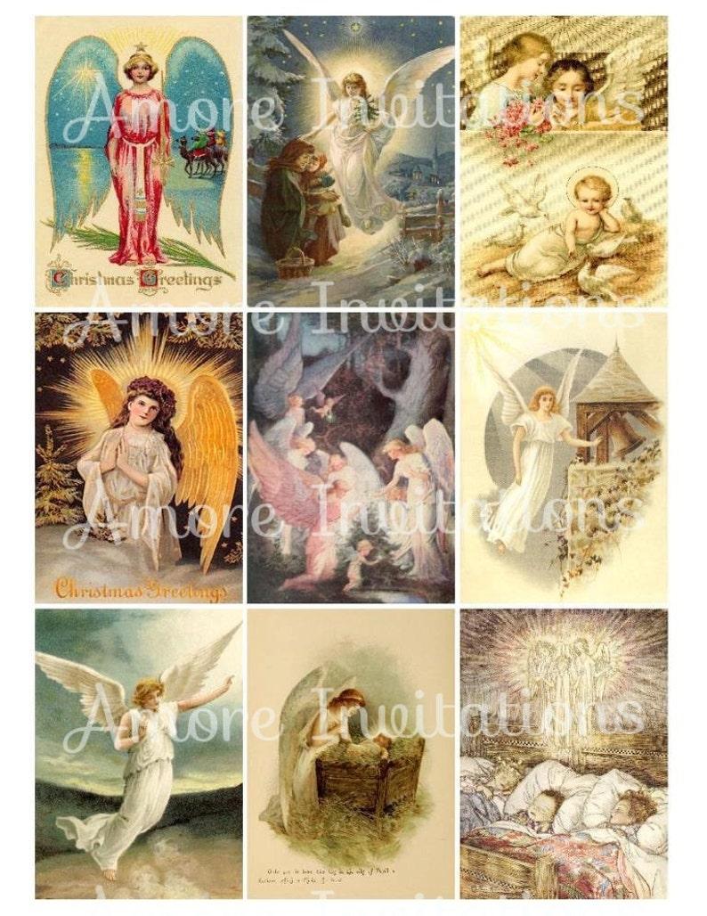 Printable Digital Vintage Christmas Angels Collage Sheet ATC image 0