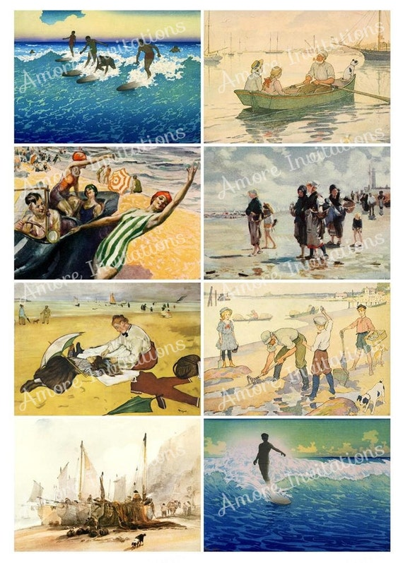 Printable Vintage Beach Digital Collage Sheet Clip Art Etsy