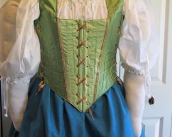 DDNJ Choose Fabrics Reversible Demi Corset Style Bodice Renaissance Plus Custom Made ANY Size Gothic Vampire Gypsy Victorian Cosplay LARP