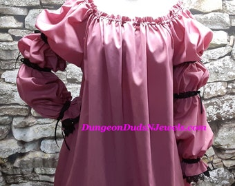 DDNJ Choose Color Renaissance 2 tier Bell Slv Gypsy Pirate Fairy Wench Chemise Costume Plus Custom Made Your ANY Size Medieval