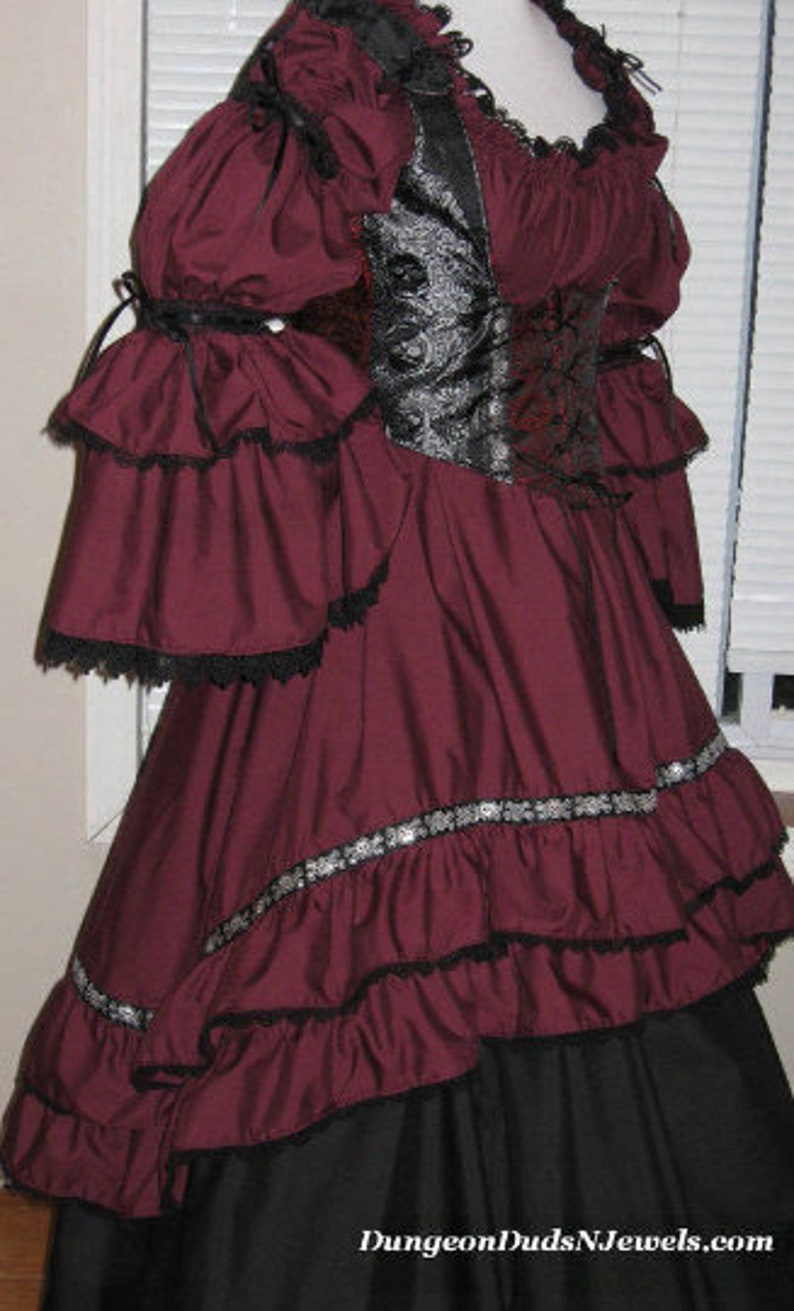DDNJ Choose Color 2 tier Bell Hi Lo Burlesque Chemise Renaissance Pirate Costume Plus Made Any Size Victorian Dress S M L XL 2X 3X 4X 5X 6X