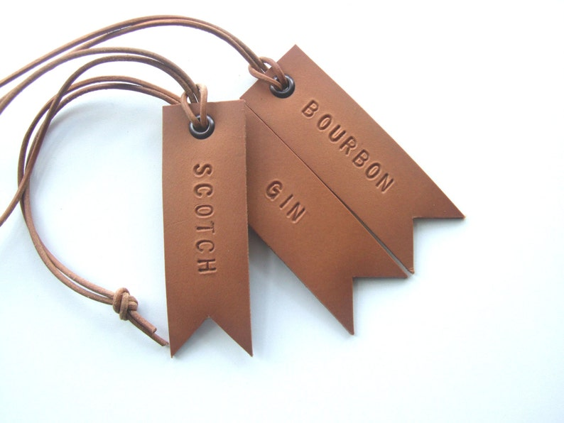 547605112d6a Set of 3 Decanter Tags Hand Stamped Leather Tags Gift for