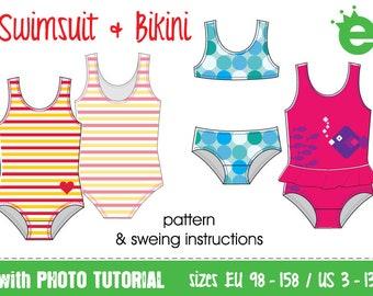Swimsuit and bikini • girls sizes EU 98–158 US 3–13 • tutorial pdf sewing pattern projector instant download • swimwear kids english lycra
