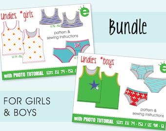 Bundle: Undies kids sewing pattern • sizes EU 74 – 152, US 9M - 12 years • English PDF pattern instant download • underwear slip briefs vest