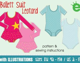leotard pattern ballet suit girls • sewing pdf projector • sz EU 92 - 158 / US 2-13 English tutu gymnastics dancing one piece stretch lycra