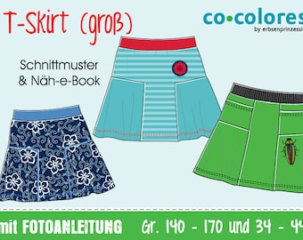 GERMAN VERSION: T-Skirt | pattern and sewing instructions | pdf instant download | EU teenie sizes 140-170, ladies sizes 34-44 | German text