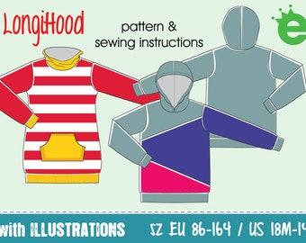 LongiHood kids Sweatshirt longshirt   sz EU 86–164 • US 18m–14   dress hood sweater PDF sewing pattern projector childrens' hoodie • English