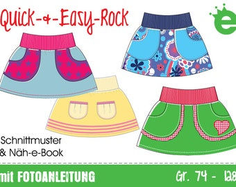 GERMAN instructions Quick & easy skirt Euro-size 74 – 128 / US-size 9m to 8, PDF- pattern // instant download