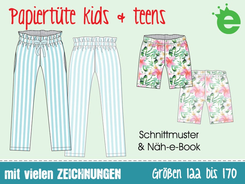 Paperbag pants for kids and teens  sewing pattern GERMAN image 0