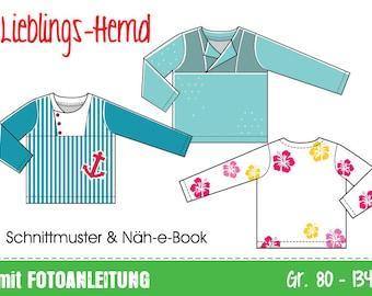 GERMAN instructions Favorite kids' shirt • sewing pattern • sizes EU 80 to 134, US 12M to 9 • pdf download • blouse wovens cotton boys woven