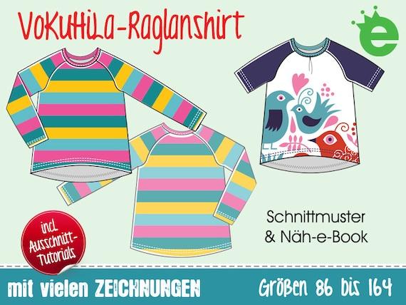 VoKuHiLa-Raglanshirt • Gr. 86-164 • Kindershirt, Sweatshirt Mädchen: Näh-e-Book und Schnittmuster • pdf Download Langarm-Shirt
