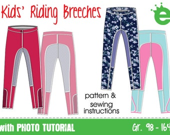 Riding pants for kids • EU sz 98–164 /3–14y •  sewing pattern pdf download projector • trousers children girls equestrian breeches leggings