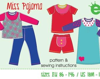 Miss Pajama children pajamas    Euro-size 86-146 / US-size 18m to 11    girls' sewing pattern pdf download projector cutting     English