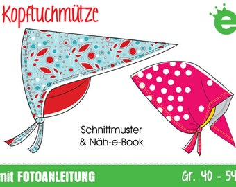 GERMAN instructions PDF and pattern head scarf hat, size 40-54 | instant download | girls babys hat | summer spring headscarf