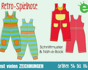GERMAN instructions Retro Dungarees • sewing pattern pdf • EU sz 56-116 • bib overall baby toddler flap trousers children • pdf projector