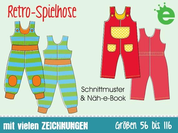 Retro-Spielhose Gr. 56-116 Näh-e-Book & Schnittmuster | Etsy