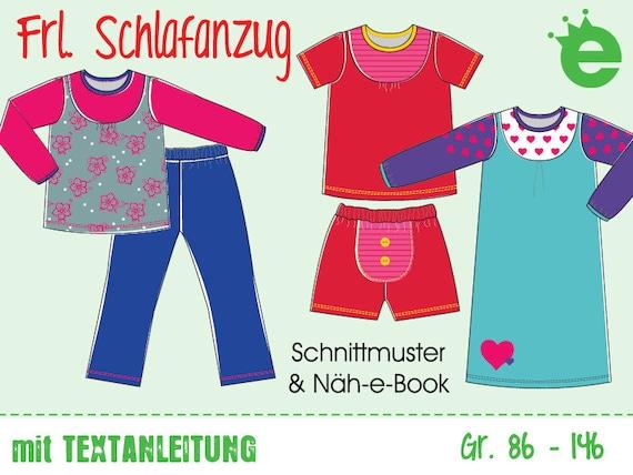 Frl. Schlafanzug Gr. 86-146 Näh-e-Book & Schnittmuster | Etsy