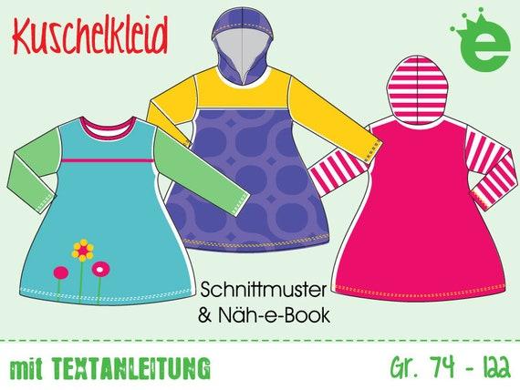 Kuschelkleid • Gr. 74-122 • Näh-e-Book Schnittmuster & Nähanleitung Sofort-Download • Mädchenkleid, Kinderkleid, Winterkleid, Strandkleid