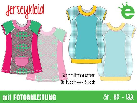 Jerseykleid Gr. 80-122 Näh-e-Book & Schnittmuster | Etsy