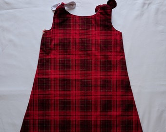 Red and Black Plaid Dress - Toddler Dress - Christmas Dress