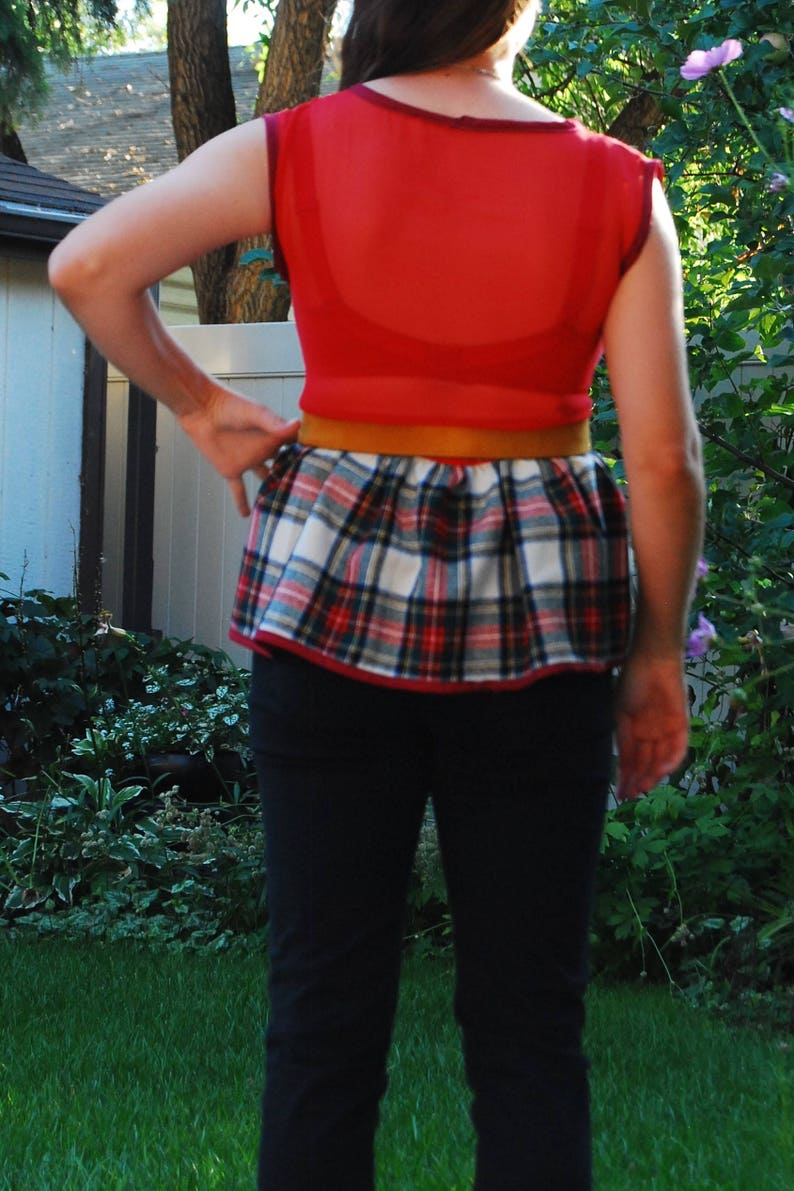 Red and Plaid Sleeveless Top  Large  Upcycled Handmade Sleeveless Top Sheer Back