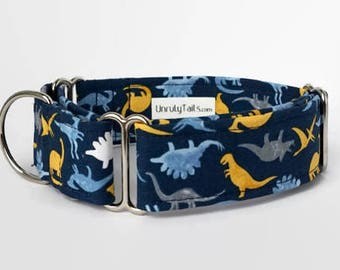 Dinosaurs on Navy Adjustable Dog Collar - Martingale Collar or Side Release Buckle Collar  - T - Rex / Triceratops / Brontosaurus Collar