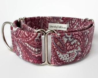 Purple Paisley Adjustable Dog Collar -  Martingale Collar or Side Release Buckle Collar - Mauve & Aqua Paisley