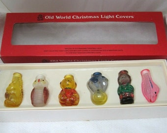 Old Fashioned Christmas Sears Porcelain Christmas Light Covers New Old Box of Six Christmas Tree Light Covers Old Fashioned Light Covers,