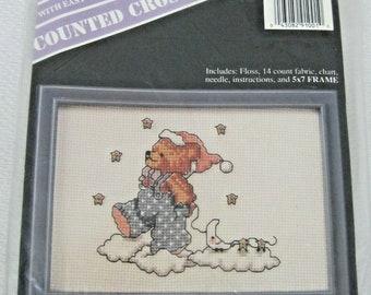 Banar Designs Vintage Marina Anderson Christmas Teddy Bear Dog Cat Stocking Cross Stitch Kit New Unopened