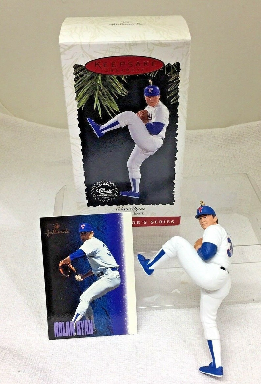 1996 Hallmark Christmas Ornament At the Ballpark #1 Nolan Ryan Box w Price H20