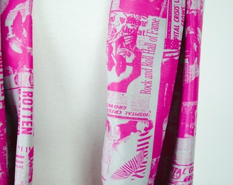 Pink Newspaper Print Summer Infinity Scarf Custom Catastrophes