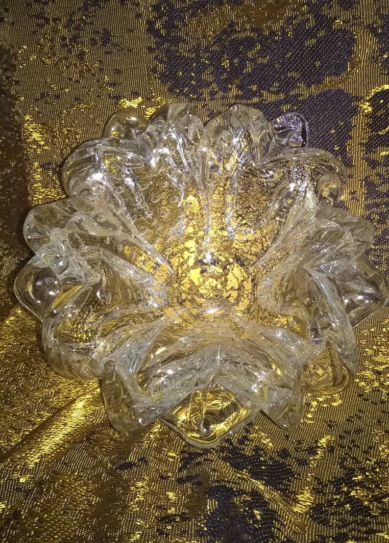 Murano Art Glass Dish Gold Flecks