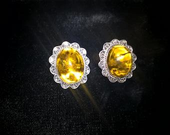 Amber Ear Rings Set in Sterling Silver