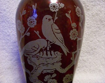 Royal Ruby Vase by Anchor Hocking  With Silver Overlay