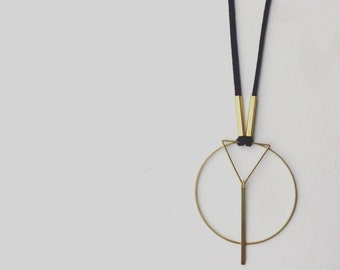 Black Leather Geometric gold necklace