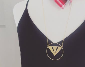 Geometric tribal triangle circle gold necklace