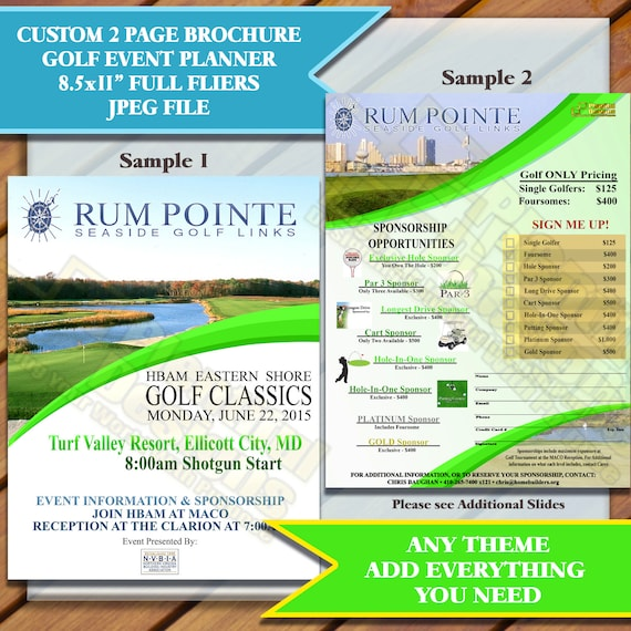 Brochure 2 Pages, Custom Golf Flier, Event Planner Designs- Fliers 8 5x11 -  Multiple Samples, Please Choose one, JPEG only, You Print