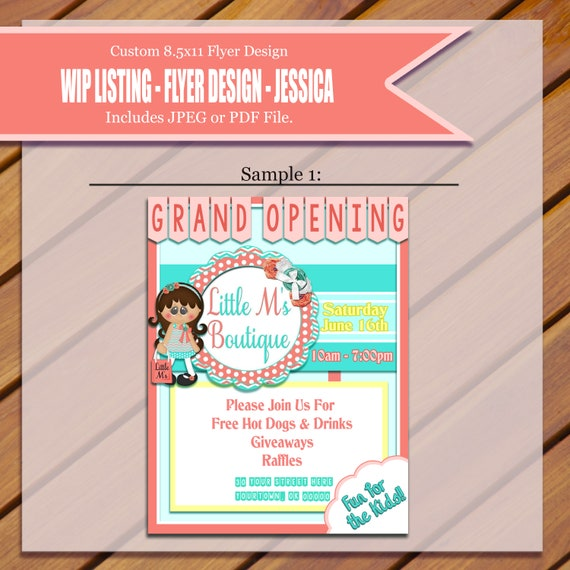 custom grand opening flyer etsy