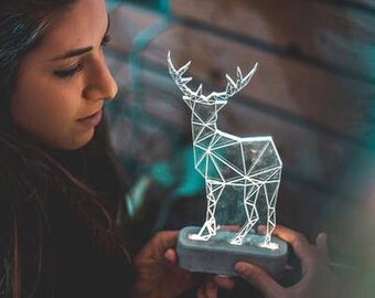 Large Modern Reindeer lamp, concrete deer lamp, christmas reindeer lamp, deer night light, woodland decorative lamp, 3D lamp, festive lamp