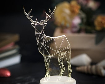 White concrete deer lamp / Geometric LED desk lamp / fawn night light / woodland decorative lamp