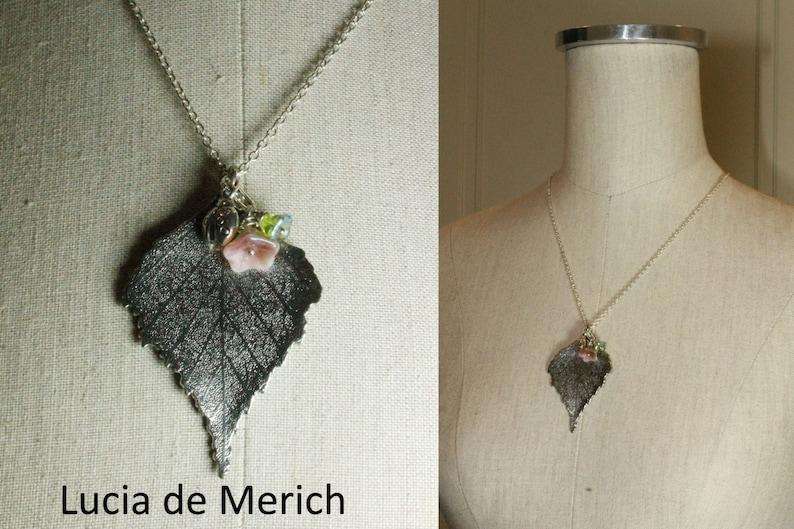 Botanical Woodland fantasy Jewelry Free shipping Woodland fairytale Necklace Silver Leaf Lariat Necklace