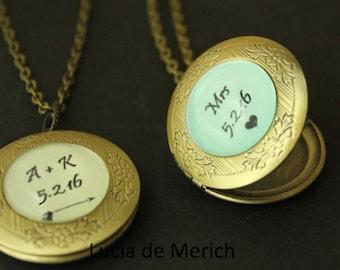 Personalized Locket Necklace, Locket Necklace, Personalized Necklace, Anniversary Necklace, Custom date Locket Necklace, Personalized Gift