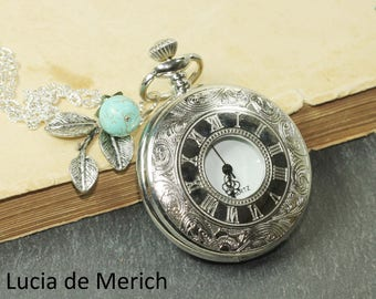 Romantic silver leaf  watch necklace with turquoise bead -  gift uder 25 USD - coupon code-Black friday - Cyber monday Mother's day gift