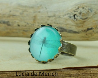 Little mint green ring, adjustable ring, Dragonfly ring, antique brass ring, glass dome ring, antique bronze ring, jewelry gift